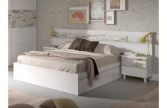 cabecero dormitorios matrimonio en color blanco mesita muebles baratos