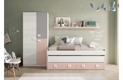 dormitorio completo color rosa gris suave armario cama juvenil