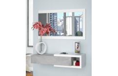 recibidor entraditas en gris y blanco moderno con espejo