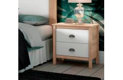 mesitas 2 cajones en blanco y roble cambrian muebles baratos
