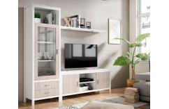 mueble salón apilable moderno blanco poro mesa tv muebles baratos