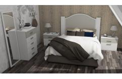 dormitorio de matrimonio en blanco beige elegante moderno