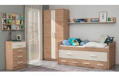 dormitorio juvenil blanco roble armario cama estante