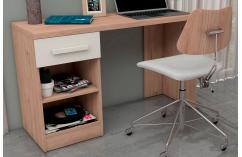 mesa de escritorio juvenil en roble y blanco poro 1 cajón moderna