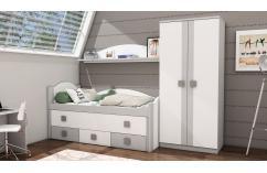 dormitorio juvenil en blanco poro gris moderno