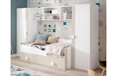 dormitorio infantil puente beige y blanco cama nido moderno