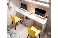 Mesa de estudio para dos blanco y beige cajonera