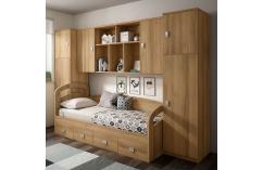 composición puente juvenil blanco beige cama nido compacta