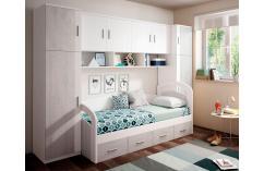 puente juvenil infantil muebles baratos en color blanco y gris