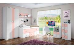 Cama compacta dormitorio juveniles blanco rosa tres cajones