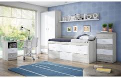 dormitorios juveniles cama compacta blanco diáfano armario juveniles
