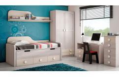 cama compacta dormitorios juveniles fresno gris cajones