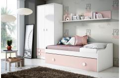 dormitorios juveniles cama nido en blanco poro y rosa armario