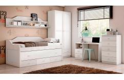 cama compacta dormitorios juveniles blanco gris