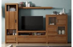 moderno mueble de salon color teka vitrina