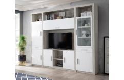 composición blanco y roble moderno muebles baratos salon