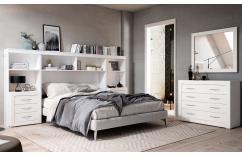 dormitorio en blanco poro moderno muebles baratos estanteria