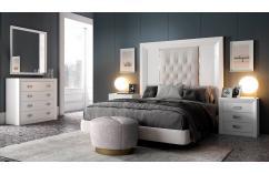 dormitorio de matrimonio blanco poro elegante moderno acolchado