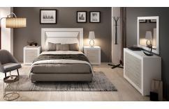 dormitorio de matrimonio moderno muebles baratos blanco poro gris