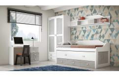 dormitorio juvenil blanco y gris pozzolana moderno