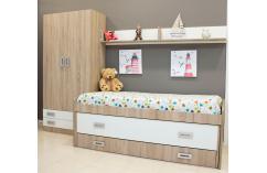 dormitorio juvenil roble y blanco cama compacta armario barato
