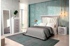 dormitorio matrimonio cabecero tapizado en blanco y gris moderno