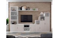 mueble salon composición blanco y gris moderno