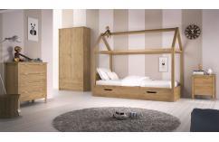 dormitorio infantil cama con tejado en roble moderno