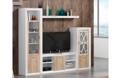muebles de salón moderno blanco y roble cambrian