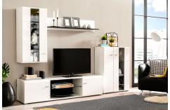 composición modular blanco brillo y negro leds moderna barata