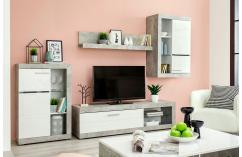 composición modular blanco brillo gris cemento leds moderna barata