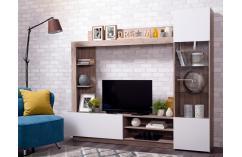 muebles baratos modernos salón composición blanco y roble
