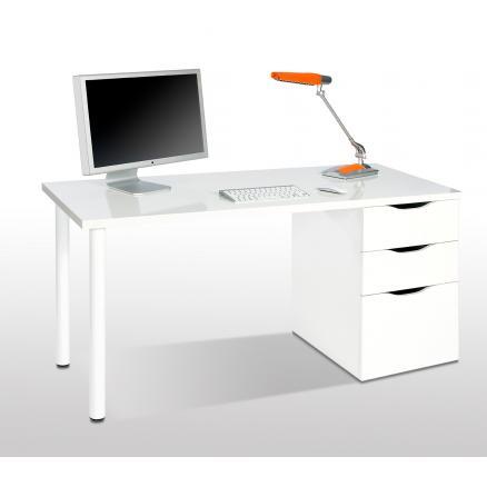 mesa ordenador en color blanco cajones reversible