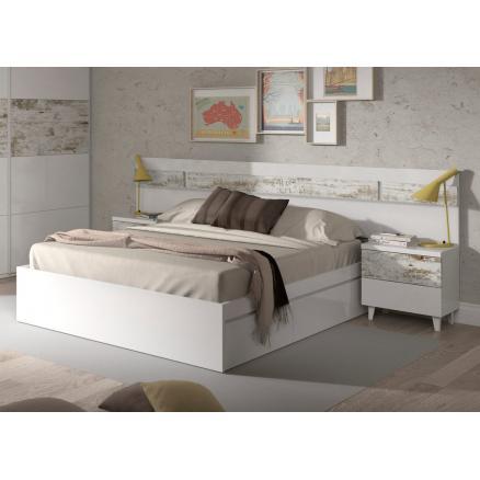 Cabecero con dos mesitas en blanco y vintage rapimueble - Rapimueble dormitorios ...