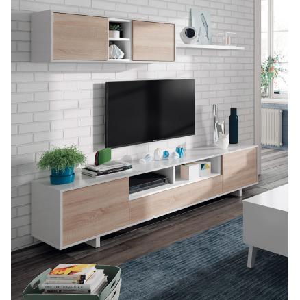 muebles salon salones modernos blanco roble apilable
