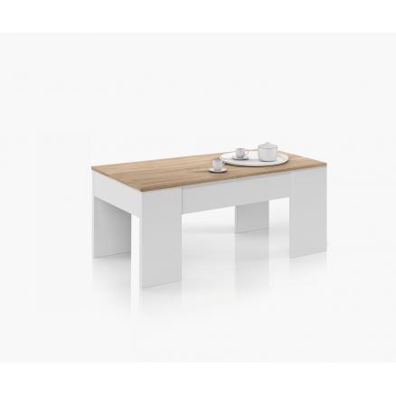 mesas de centro elevable en blanco ártico roble canadian
