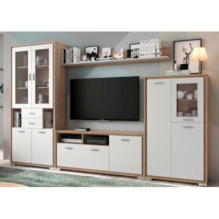 Apilable roble cambrian y blanco muebles salon composición