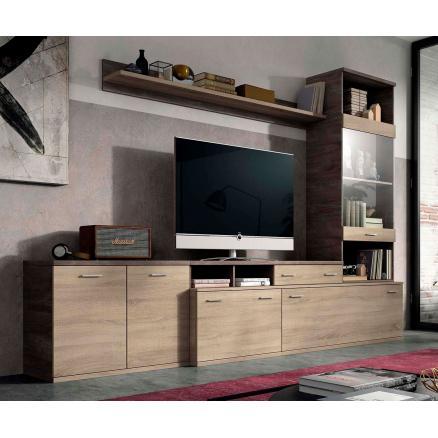 salones modernos roble cambrian y roble oscuro mesa tv