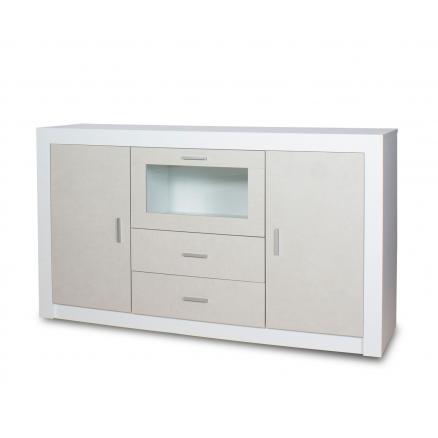 aparador en blanco y gris muebles salón cajones cristal