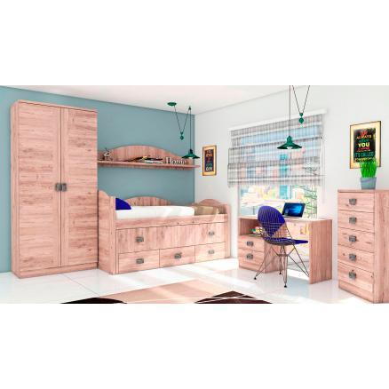 cama compacta dormitorios juvenil en roble dormitorio completo