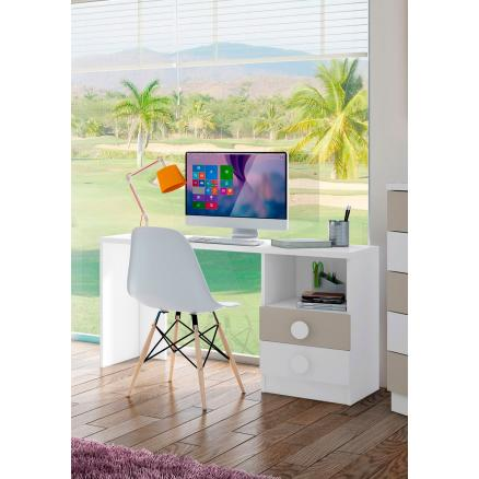 Mesa de estudio escritorio en blanco y beige moderno dormitorio