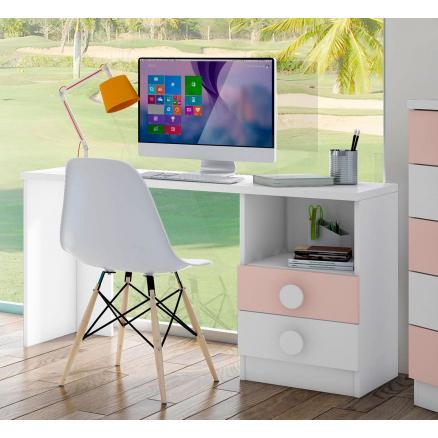 mesa estudio en blanco y rosa dormitorios juveniles