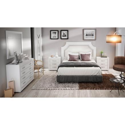 dormitorios matrimonio color blanco cabecero tapizado