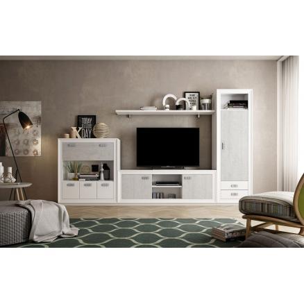 muebles salon composición blanco poro cemento