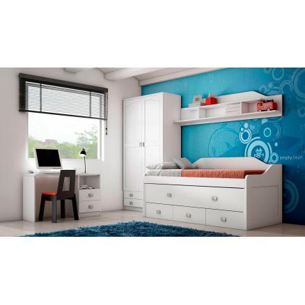 cama compacta dormitorios juveniles tres cajones blanca