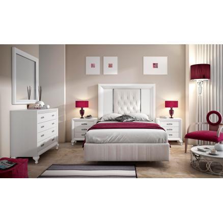 dormitorios matrimonio EN blanco cabecero tapizado elegante