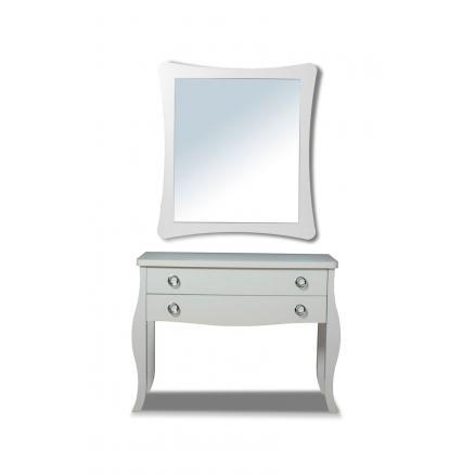 consola con espejo color blanco recibidor mueble de sala
