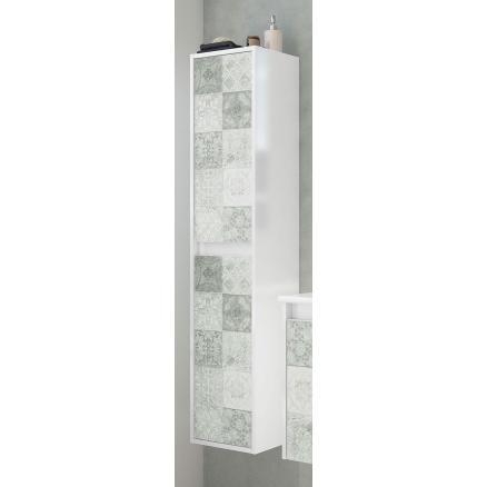 muebles baño color blanco brillo y gris efecto baldosa con 2 puertas