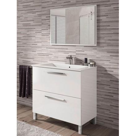 baños moderno mueble dos puertas en blanco brillo con cajones