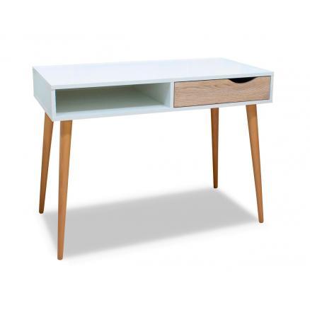 mesa de estudio juvenil estilo nórdico color blanco y roble